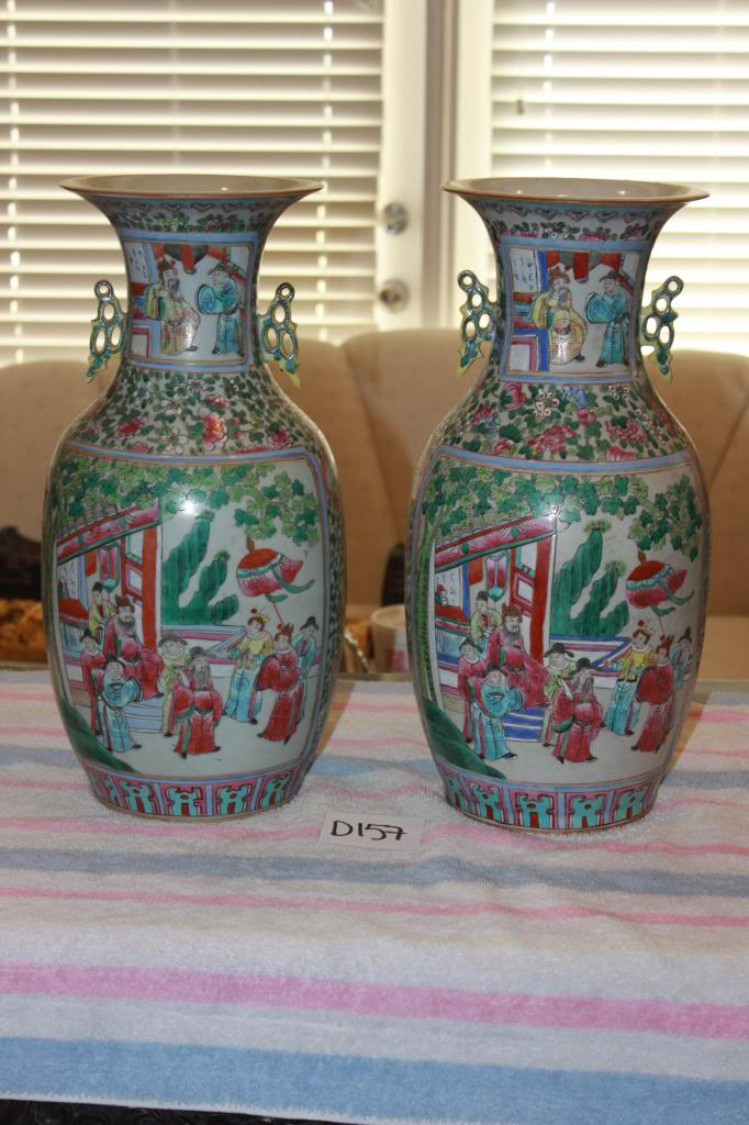 Antique Chinese 19th C Pair of Famille Verte Porcelain Vases