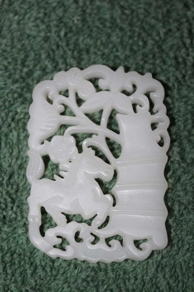 Antique Chinese Carved White Jade Horse Pagoda Plaque 19th - 20th Cent