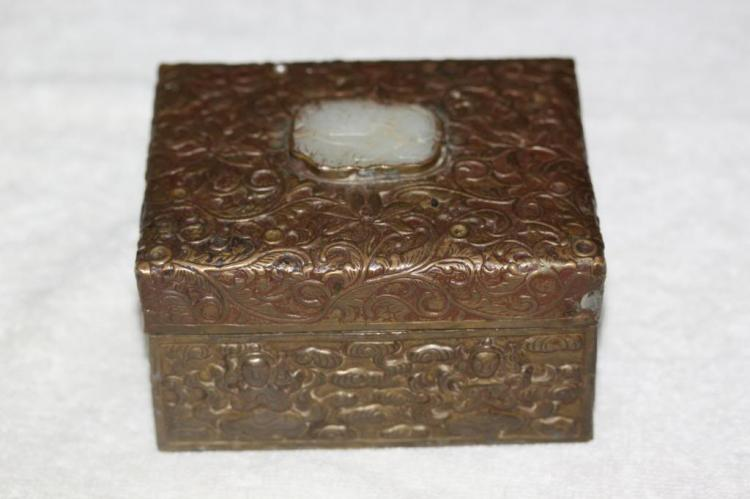 Antique Chinese Carved White Jade Plaque on Tin Box