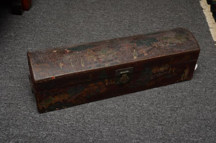 Antique Chinese Finely Carved Lacquer Small Document Trunk 1920s