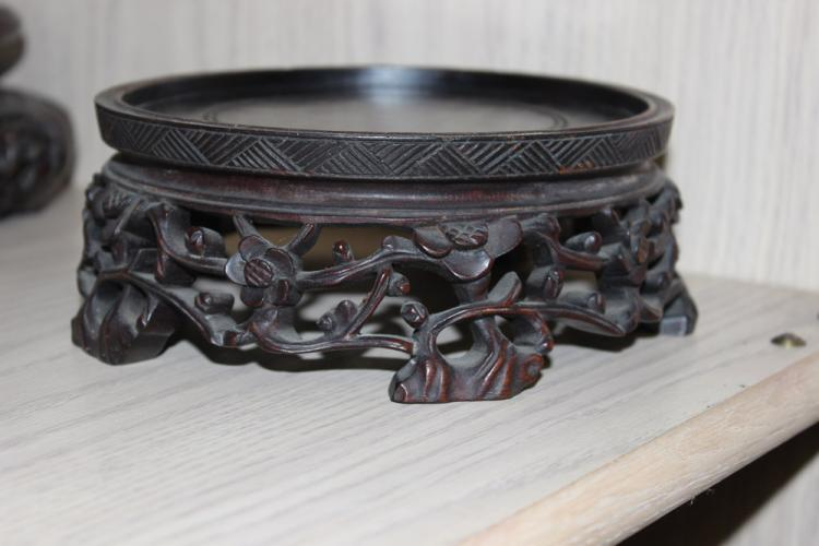 19th C Chinese Well Carved Wood Stand