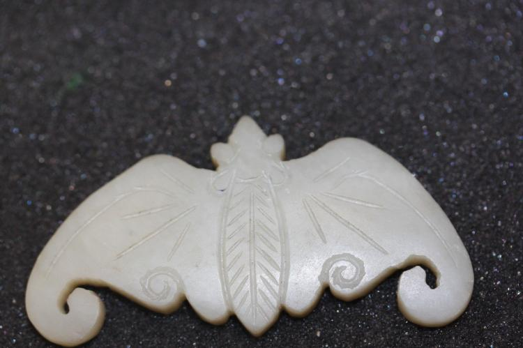Antique Chinese Early 20th Cent. Jade Carved Bat