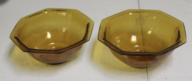Pair of Octagon 19th C Chinese Peking Glass Bowls