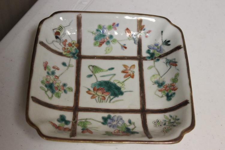 Antique Chinese Tongzhi Square Plate
