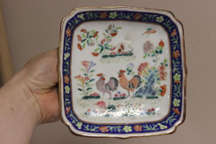 Antique Chinese Chicken Square Dish
