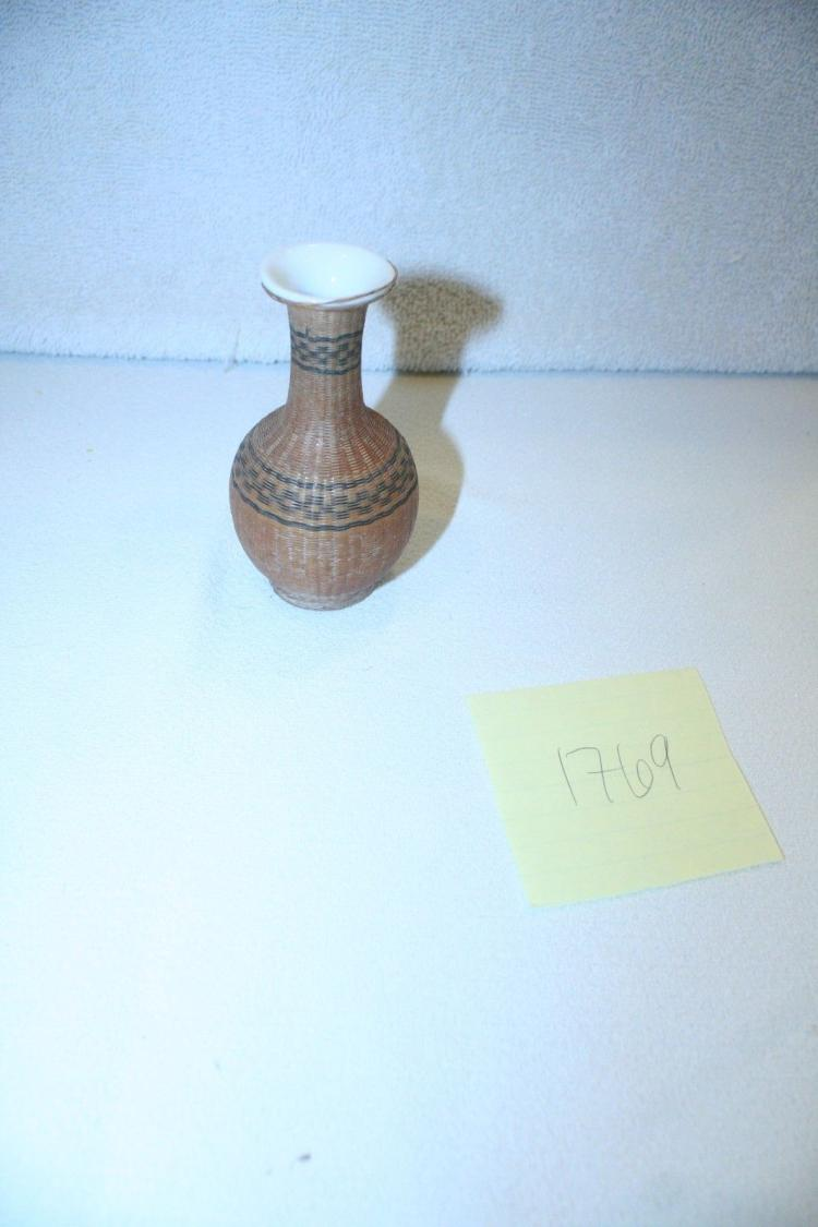 Antique Japanese Rattan Cone Vase