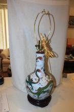 Antique Chinese Early 20th Century Famille Verte Dragon Vase Lamp