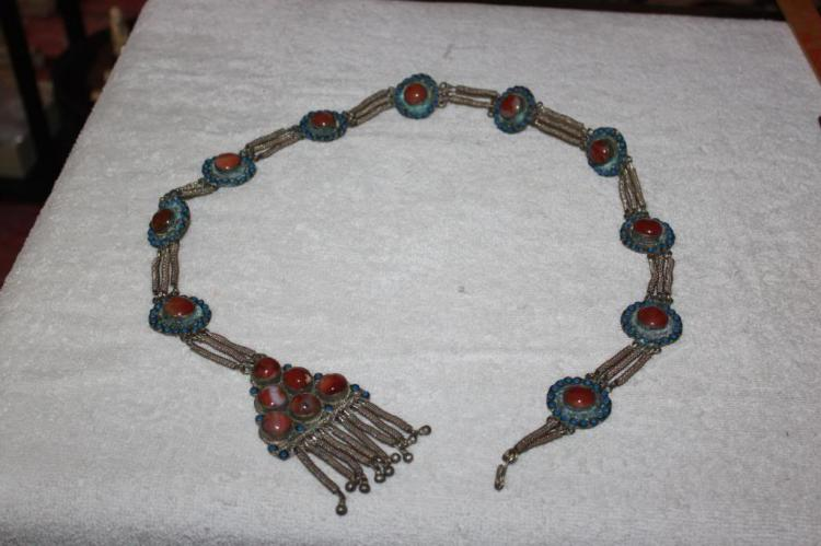 Antique Chinese Silver Belt w/ Carnelian Jade