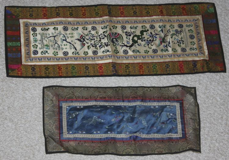 Lot of 2 Vintage / Antique Chinese Silk Panels