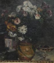 Antique / Vintage Oil on Canvas of Flower