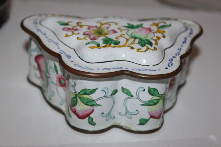 Antique Chinese Cloisonne Enamel Butterfly Box