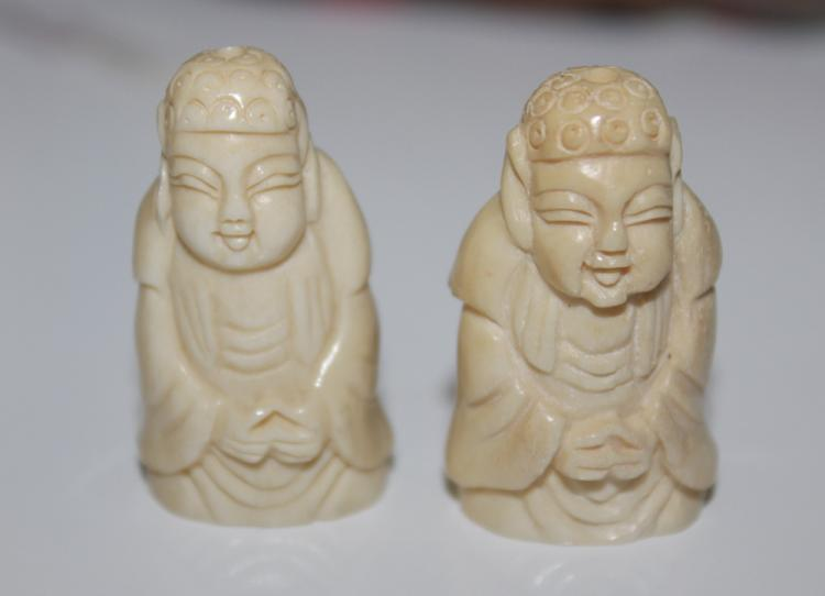 Antique Chinese Set of 2 Miniature Coral Figurines