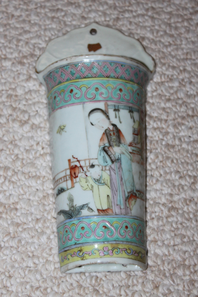 19th Century Chinese Famille Rose Wall Pocket for Chop Sticks