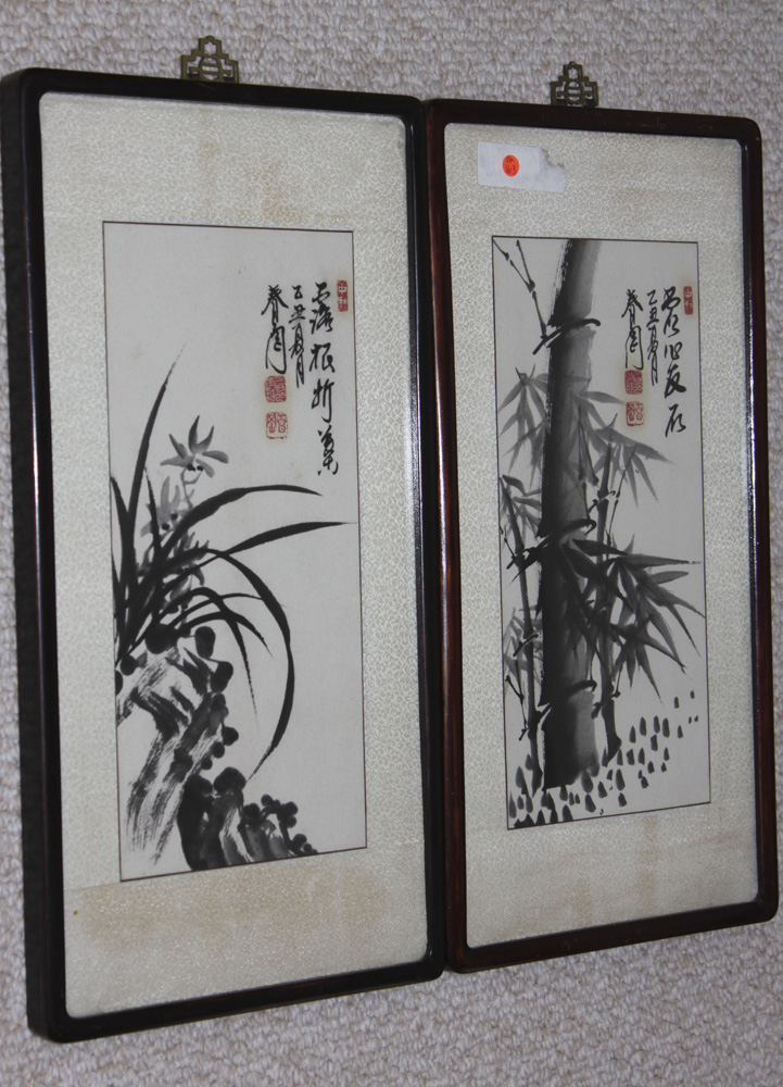 Antique Chinese / Asian / Japanese / Korean Pair of Watercolors