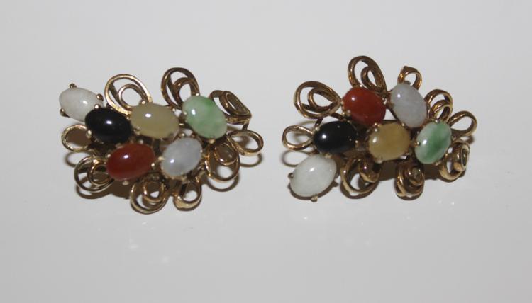14k Gold Chinese Jade / Gemstone Pair of Earrings