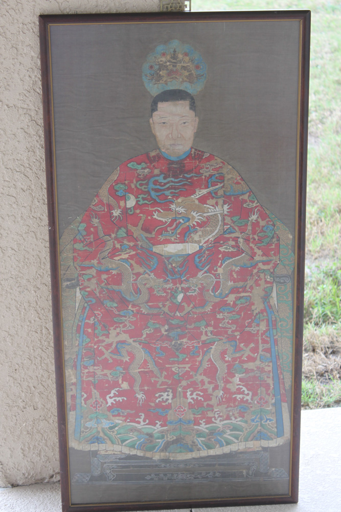 Antique Chinese 19th Century Painting of Ancestor on Silk