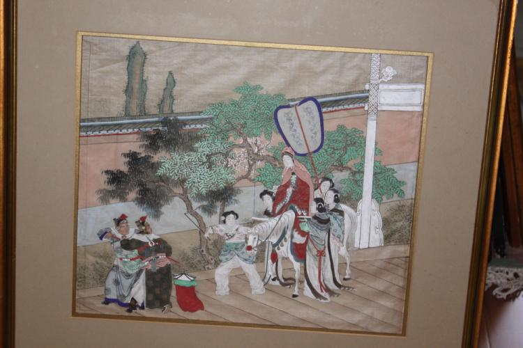 Antique Chinese Qing Dynasty Pastel on Silk