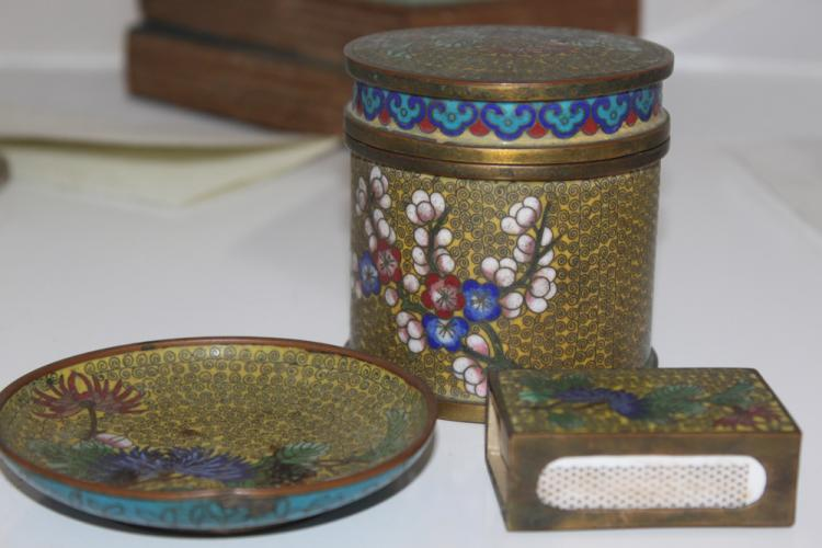 Lot of Three Antique Chinese Cloisonne