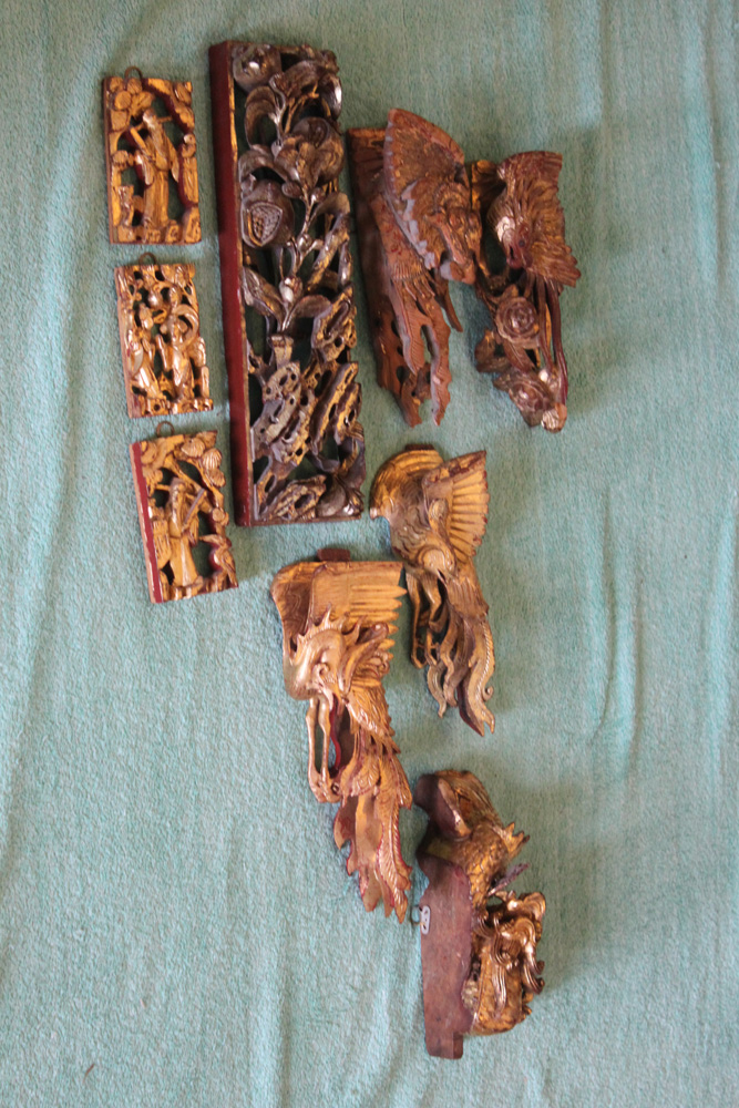Antique / Vintage Chinese Lot of Nine Gilt Ornaments