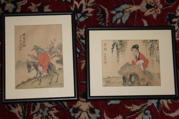 Antique / Vintage Chinese Pair of Pastel on Silk or Paper