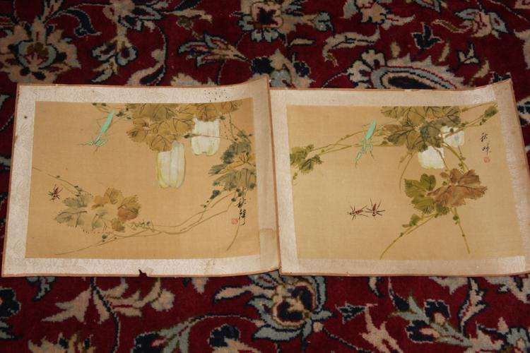 Pair of Antique Chinese Pastel on Silk or Paper Painting