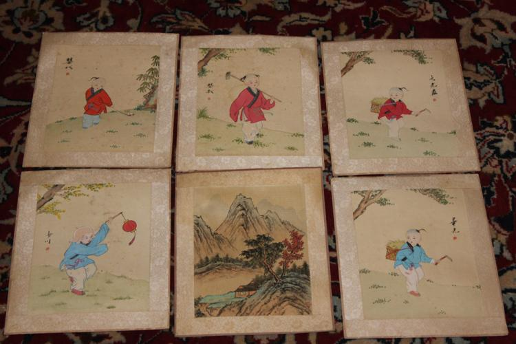 Set of Six Antique Chinese Watercolors