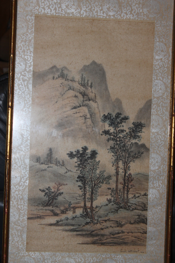 Antique / Vintage Chinese Watercolor or Charcoal on Silk
