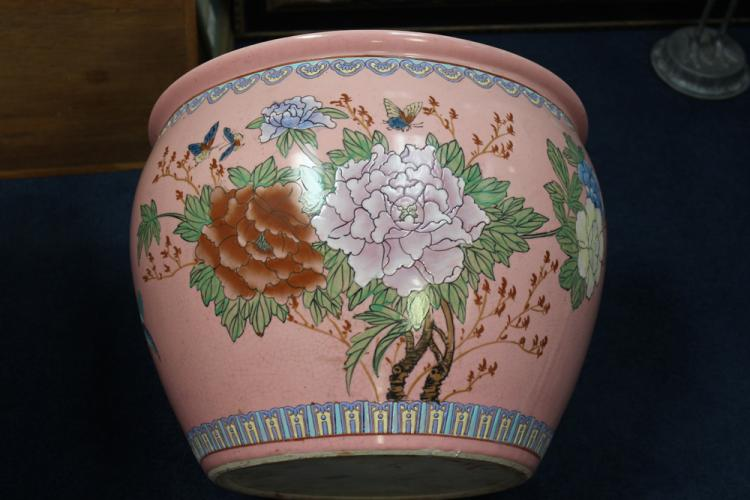 Vintage Famille Rose Fish Bowl