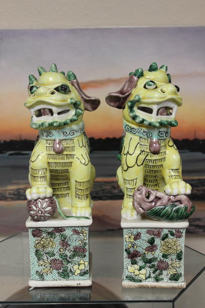 Pair of Famille Jaune Foo Lions
