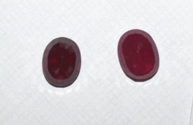 Lot of Two Oval Cut Ruby Gemstones 5.88 ctw