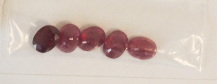 Lot of Loose Oval Cut Ruby Gemstones 8.76 ctw