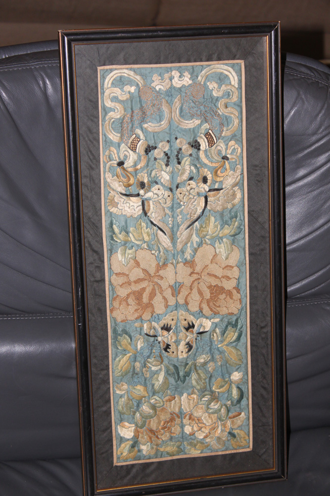 Antique Chinese Framed silk Embroidery