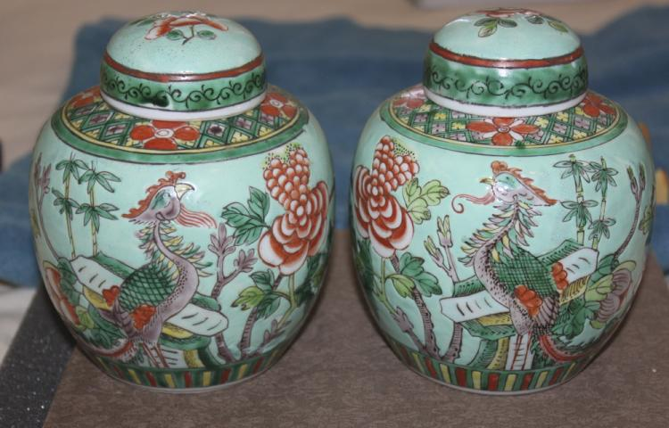 Antique Chinese Early 20th Century Famille Verte Ginger Jars