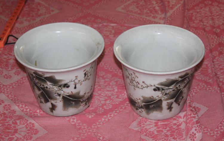 Antique Chinese Republic Period Pair of Plant Pots.
