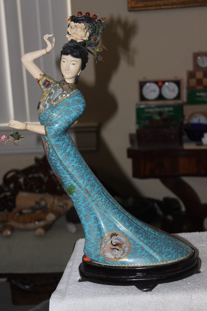 Cloisonne Carved Lady