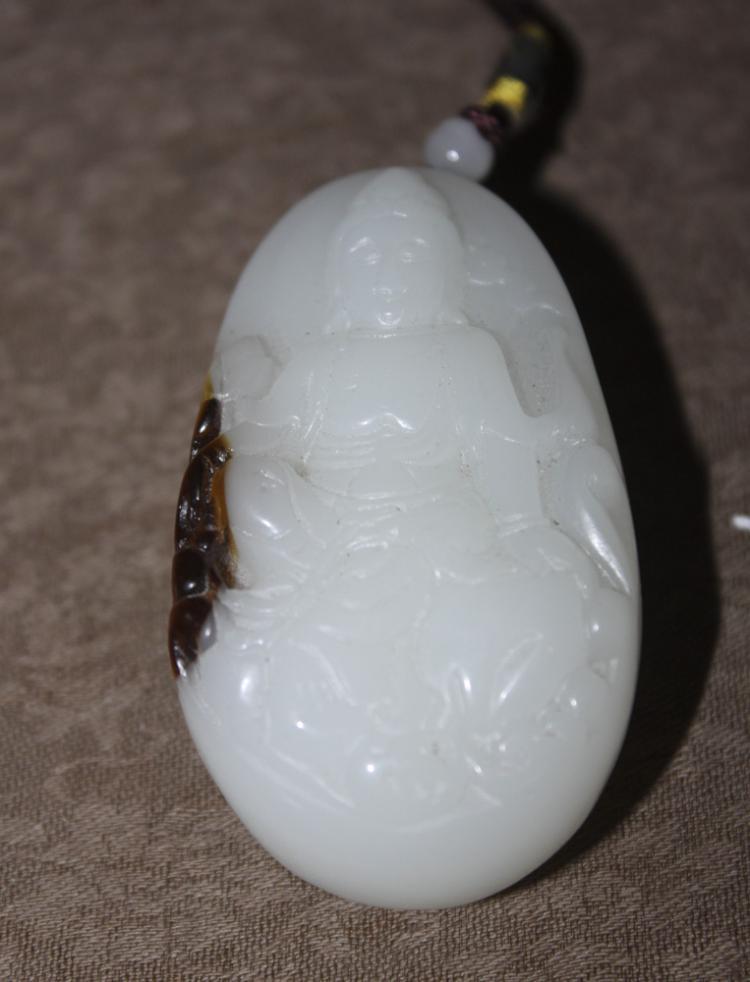 Jade / Stone Kuan Yin Pendant