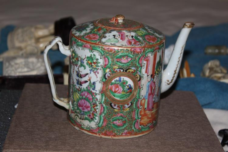 Antique Chinese Rose Medallion Teapot with Lid