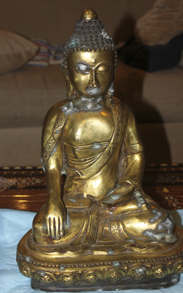 Antique Chinese 19th / 20th Century Gold Gilt Bronze Statue