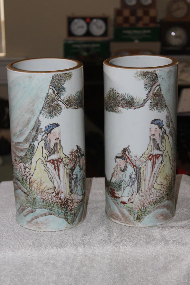 Pair of Republic Period Hat Vases