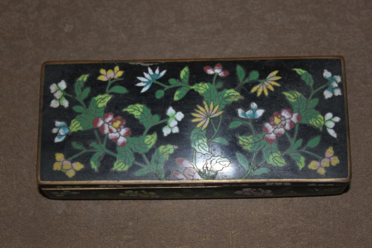 Antique Chinese Early 20th Century Long Cloisonne Box with Compartments Inside