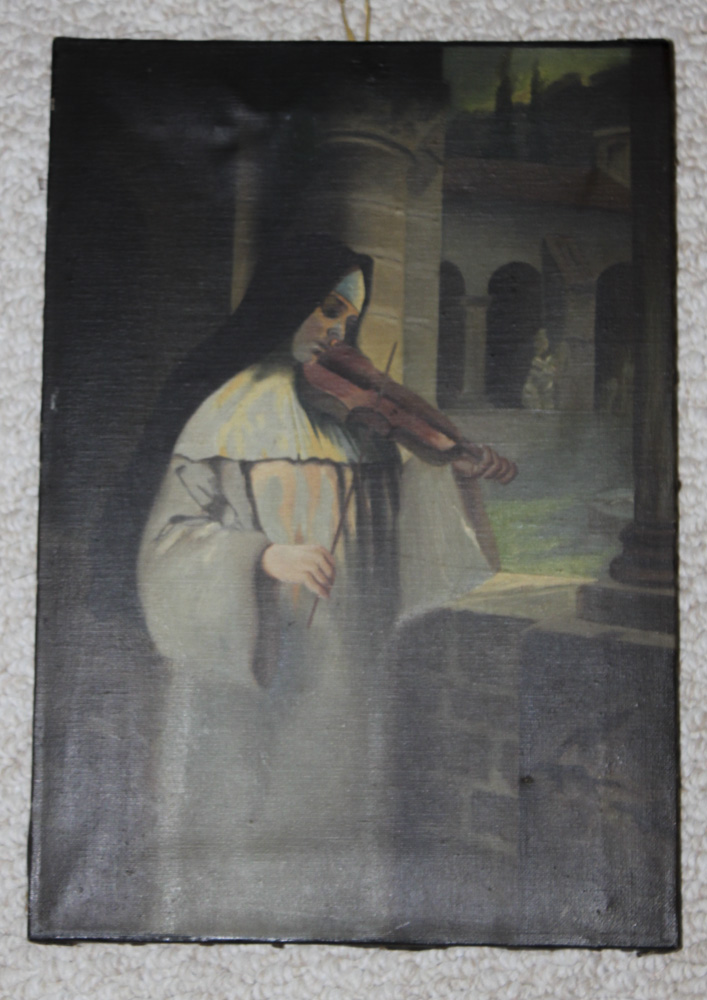 Antique Dated 1939 Oil on Canvas of Nun