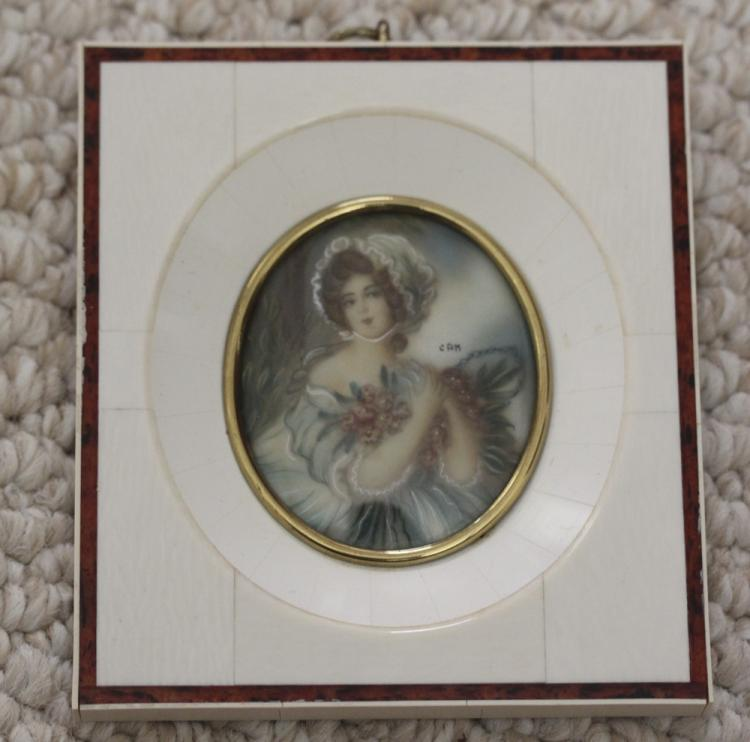Miniature Oil Painting on Bone / Ivory Frame