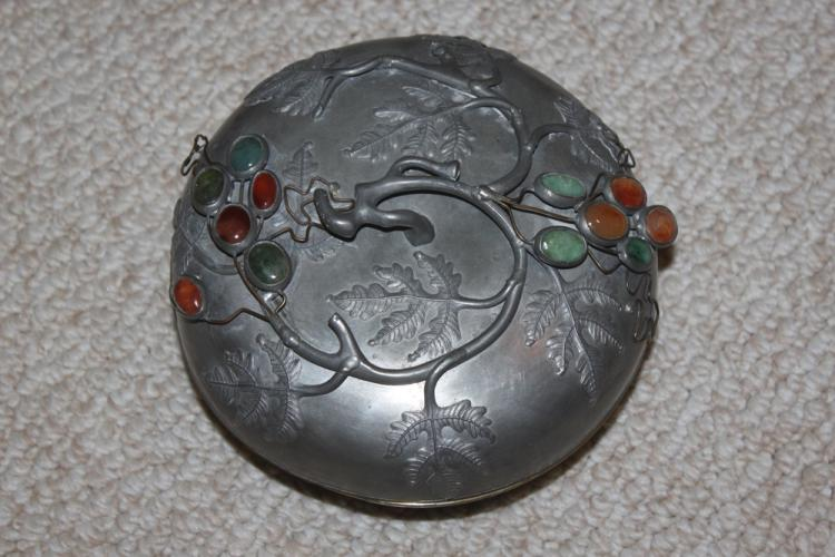 Antique Chinese Pewter Jade / Stone Covered Box