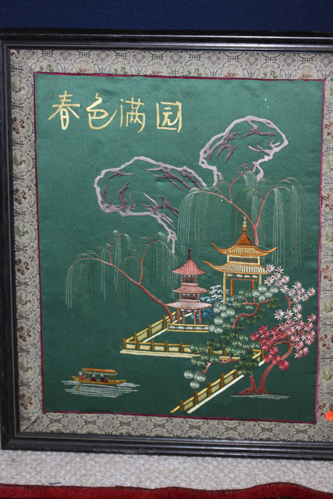 Antique Early 20th Century Chinese Embroidery of Garden or Court Scene