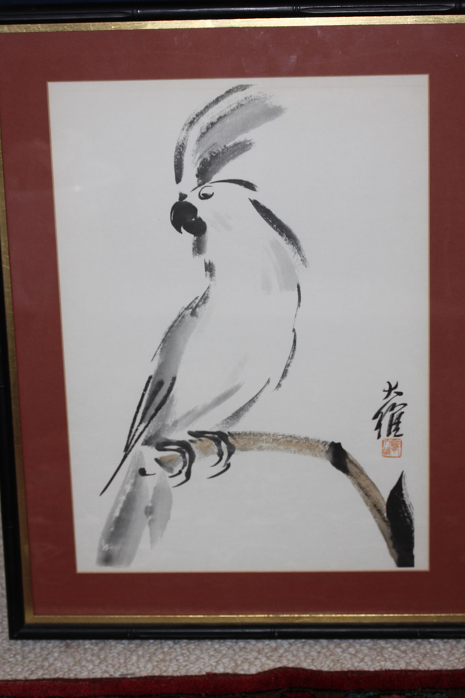 Chinese Watercolor Painting or Print of Parrot