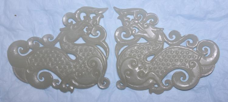 Pair of White Jade Dragon Plaque
