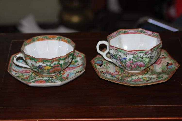 Lot of 2 Antique Chinese Rose Medallion china