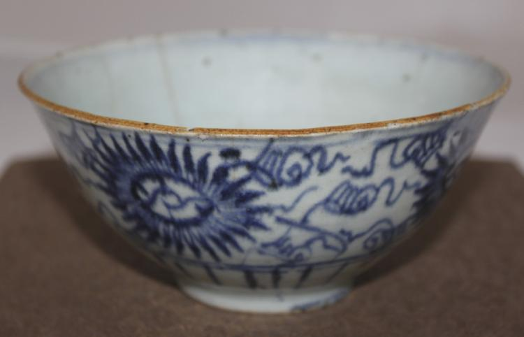 Antique Chinese 19th Century Blue and White Bowl