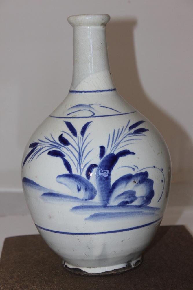 Antique Japanese / Korean Blue and White Wine Bottle