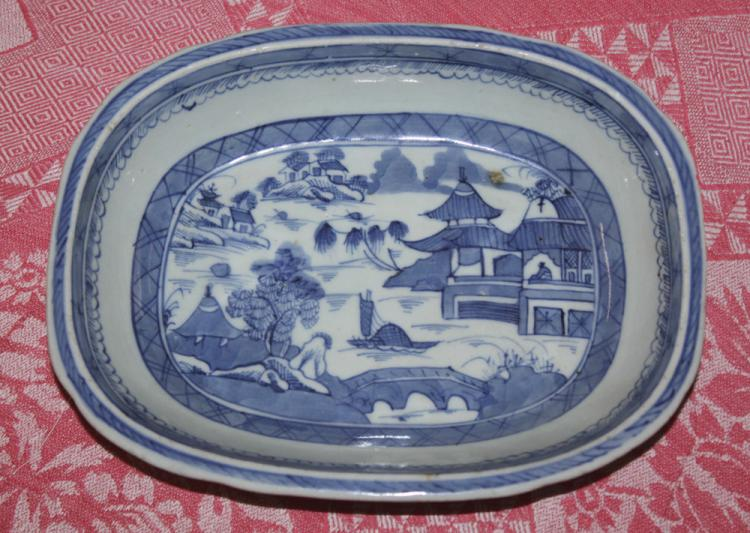 Antique Chinese 19th Century Blue and White Export Bowl